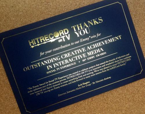 HitRECord on TV Emmy Card